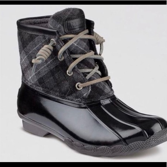 Sperry Saltwater Duck Boots Gray Black